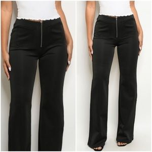 Stephanie | Front Zip Black Trousers